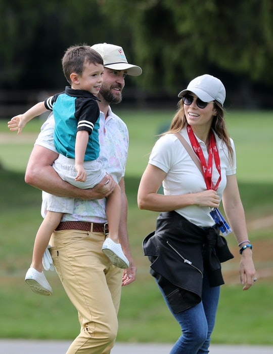 CRANS-MONTANA, SWITZERLAND - AUGUST 27: Justin Timberlake holds his son Silas next to his wife Jessi...