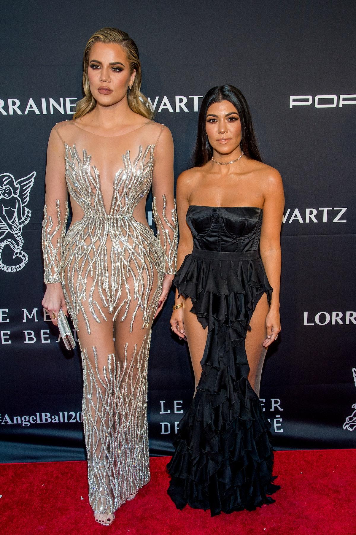 NEW YORK, NY - NOVEMBER 21:  Khloe Kardashian and Kourtney Kardashian attend the 2016 Angel Ball at ...