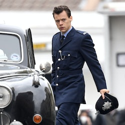 Harry Styles walks on the film set for 'My Policeman' on May 14, 2021, in Brighton, England.