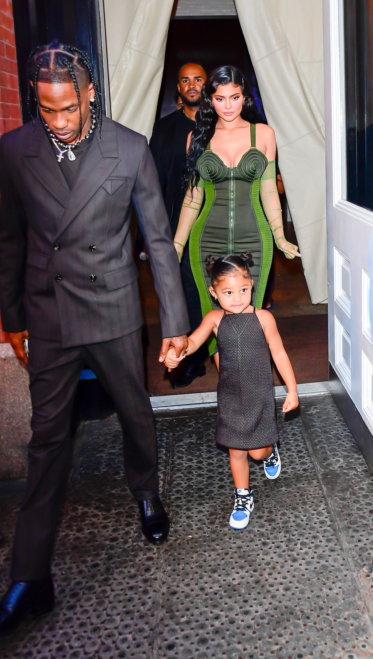Travis Scott, Kylie Jenner and their daughter Stormi Webster are seen on June 15, 2021 in New York C...