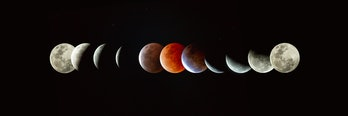 Sequence of moon phases throughout the total lunar eclipse of the super blood moon May 26 2021