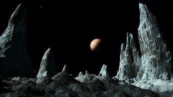 Ice spires on Callisto. Artwork of ice spires (around 100 metres tall) on the surface of the Jovian ...