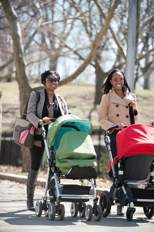 women friends walking in urban park on late winter sunny day