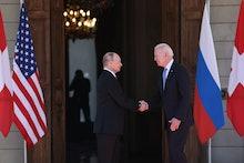 GENEVA, SWITZERLAND  JUNE 16, 2021: Russia's President Vladimir Putin (L) and US President Joe Biden...