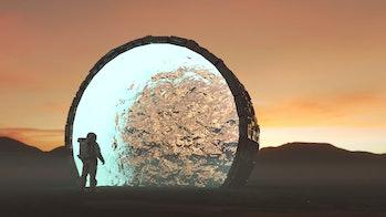Astronaut entering portal transportation