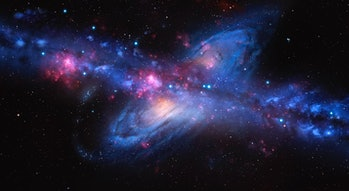 An artist's impression of the Milky Way galaxy colliding with Andromeda. Our galaxy, the Milky Way, ...