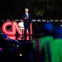 Democratic presidential candidate Joe Biden (L) speaks, alongside journalist Anderson Cooper, during a CNN drive-in Town Hall meeting in Scranton, Pennsylvania, on September 17, 2020. (Photo by JIM WATSON / AFP) (Photo by JIM WATSON/AFP via Getty Images)