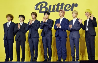 SEOUL, SOUTH KOREA - MAY 21: BTS attends a press conference for BTS's new digital single 'Butter' at...