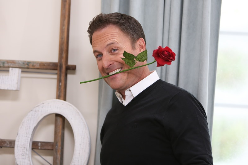 """Former 'Bachelor"""" franchise host Chris Harrison with a rose in 2019."""