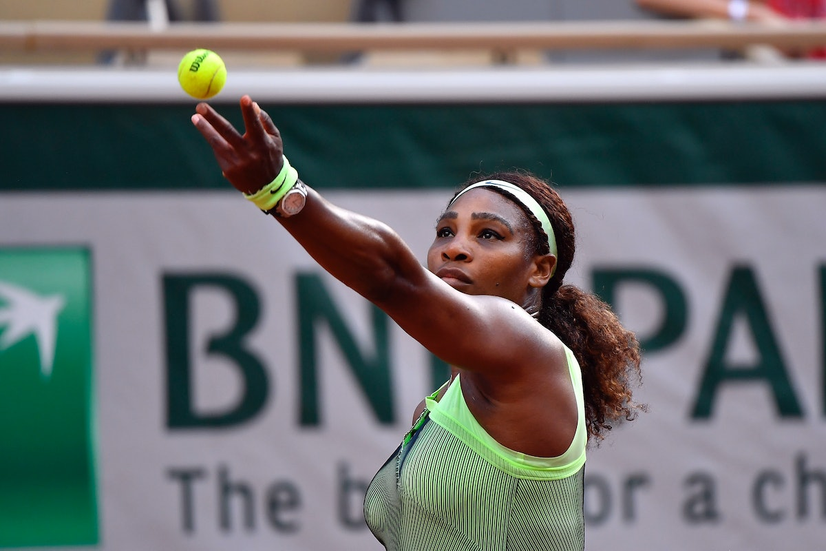 Serena Williams serves during her Women's Singles fourth round match against Elena Rybakina of Kazakhstan on day eight of the 2021 French Open at Roland Garros on June 06, 2021 in Paris, France.
