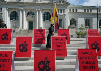 WASHINGTON, DC - JULY 30:  Tibetan activist Sonam takes part in a protest outside of the Apple Store on K St. on July 30, 2020 in Washington, DC.  The protest was organized to demand that Apple take action to protect Human rights.  (Photo by Jemal Countess/Getty Images for SumOfUs)