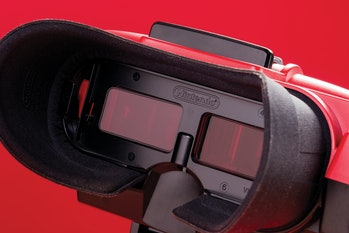 """Detail of a the """"screens"""" on a vintage 1995 Nintendo Virtual Boy video game console, taken on August..."""