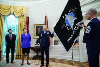 (L-R) US Defense Secretary Mark Esper, Secretary of the Air Force Barbara Barrett, US Space Force Ch...