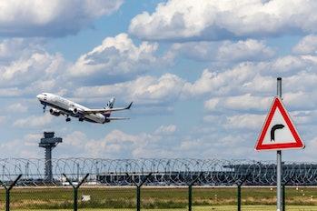 Berlin Brandenburg International Airport (BBI), Brandenburg State/ Germany- May 2021: Taking off pas...