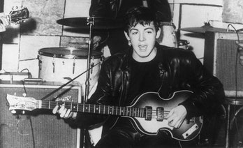circa 1960:  Paul McCartney on stage at the Cavern nightclub in Liverpool during the early days of B...
