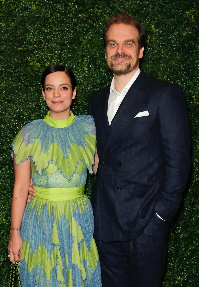 LONDON, ENGLAND - FEBRUARY 01:    Lily Allen and David Harbour arrive at the Charles Finch & CHANEL ...