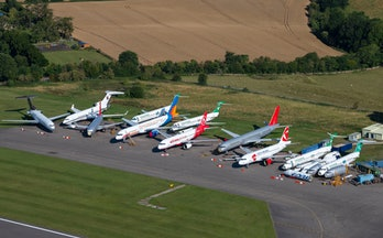 KEMBLE, ENGLAND - AUGUST 10: An aerial view of aircraft at Cotswold Airport on August 10, 2020, in K...
