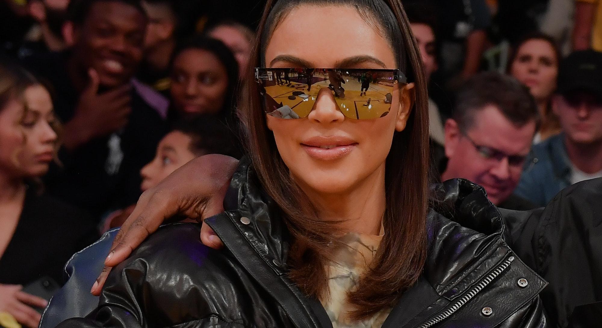 LOS ANGELES, CALIFORNIA - JANUARY 13: Kim Kardashian attends a basketball game between the Los Angel...