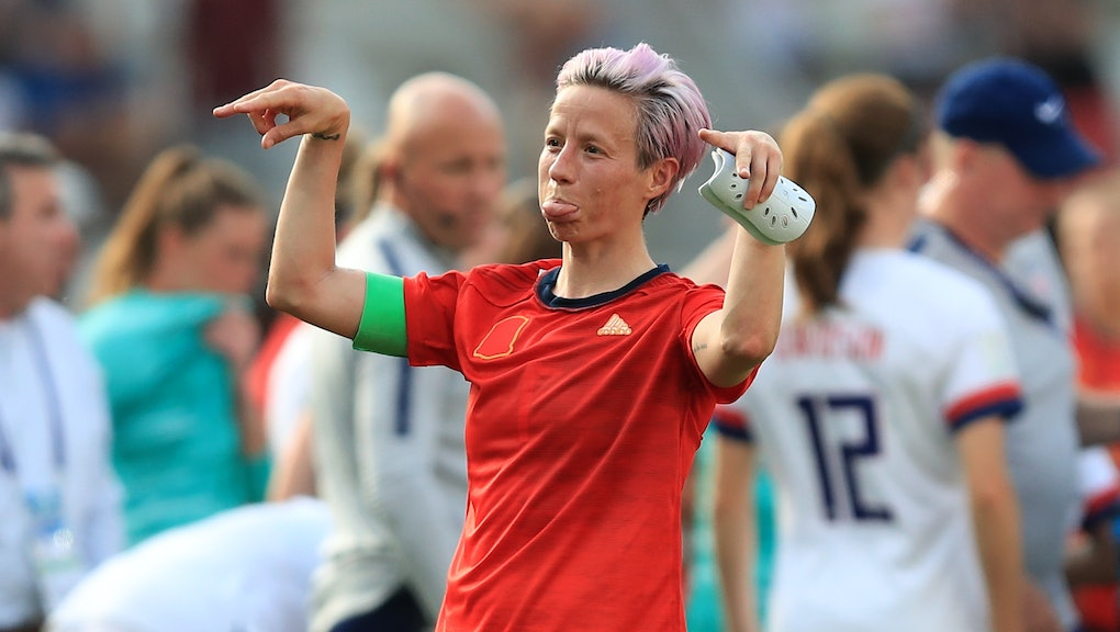 REIMS, FRANCE - JUNE 24: Megan Rapinoe of the USA reacts after the 2019 FIFA Women's World Cup Franc...