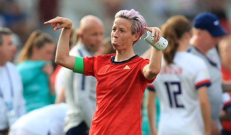 REIMS, FRANCE - JUNE 24: Megan Rapinoe of the USA reacts after the 2019 FIFA Women's World Cup France Round Of 16 match between Spain and USA at Stade Auguste Delaune on June 24, 2019 in Reims, France. (Photo by Marc Atkins/Getty Images)