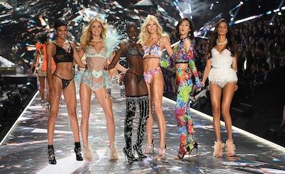 (FromL) Models Jourdana Phillips, Megan Williams, Grace Bol, Devon Windsor, Liu Wen, and Gizele Oliv...