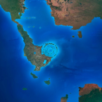 Illustration of the Chicxulub crater, shortly after its formation. This crater was formed 66 million...