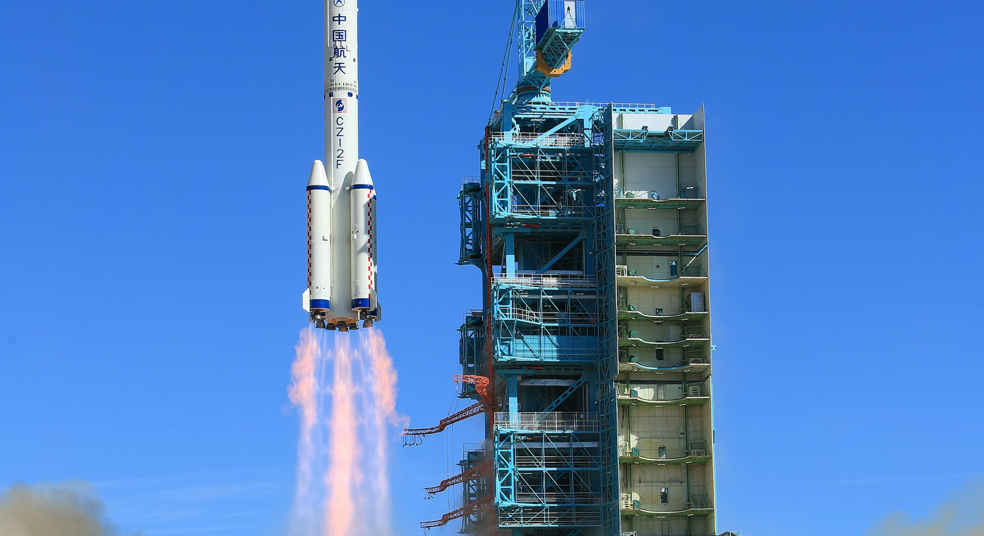 JIUQUAN, CHINA - JUNE 17: The Shenzhou-12 spacecraft is launched from the Jiuquan Satellite Launch C...