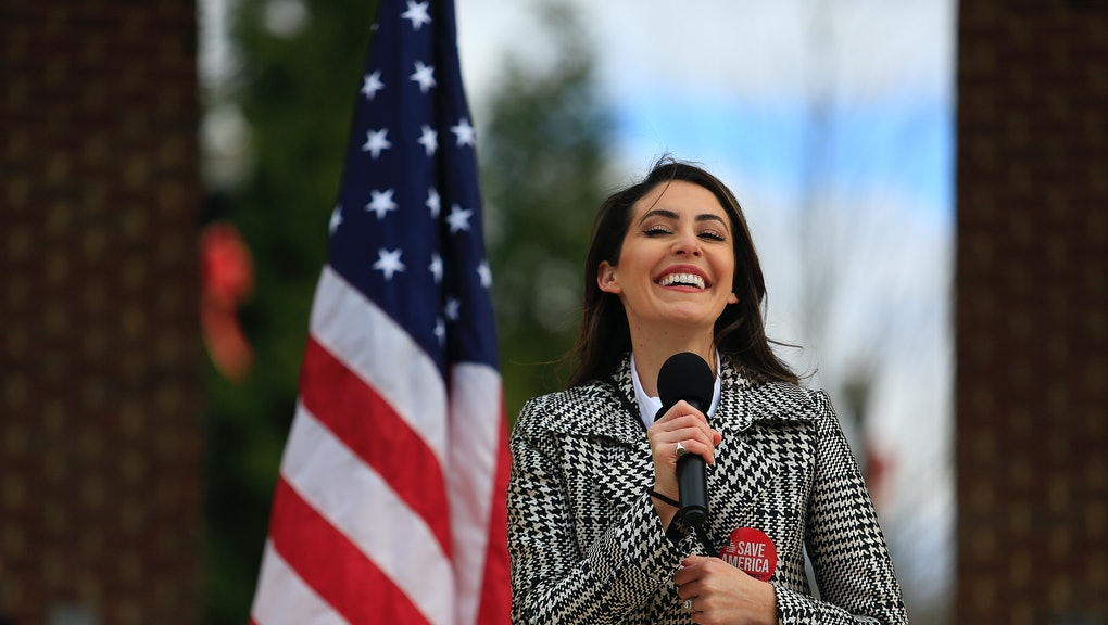 SUGAR HILL, GA - JANUARY 03: Anna Paulina Luna speaks to the crowd during the SAVE AMERICA TOUR at T...