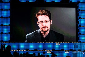 LISBON, PORTUGAL - 2019/11/04: Edward Snowden, former intelligence officer who served the CIA, NSA, ...