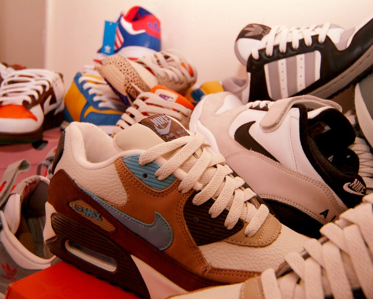 Trainer collection, Nike, Adidas, London, UK 2005. (Photo by: PYMCA/Universal Images Group via Getty...