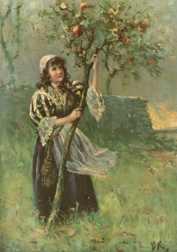 A young girl wearing c17th century clothing, shaking a small apple tree to dislodge its fruit. From ...