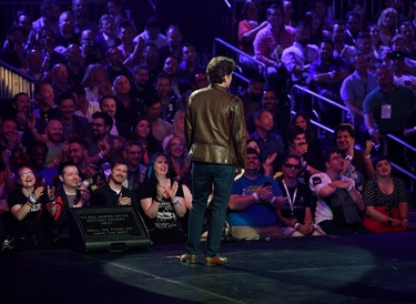 The director and executive producer at Bethesda Game Studios, Todd Howard, addresses the crowd about the new Fallout video game during the Bethesda E3 conference at LA Live in Los Angeles, California on June 10, 2018. - The three day E3 Game Conference begins on Tuesday June 12. (Photo by Mark RALSTON / AFP) (Photo credit should read MARK RALSTON/AFP via Getty Images)