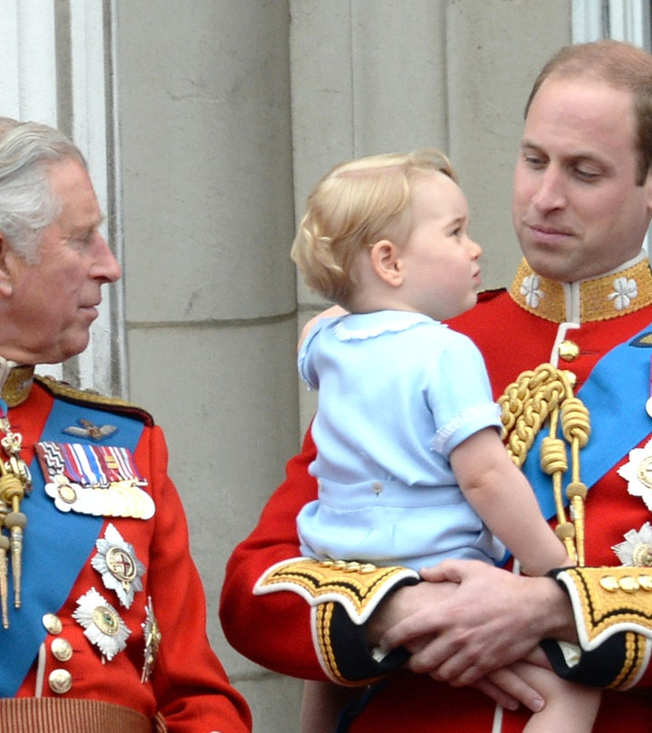 Prince Charles, Prince of Wales, Prince George and Prince William, Duke of Cambridge during the Troo...
