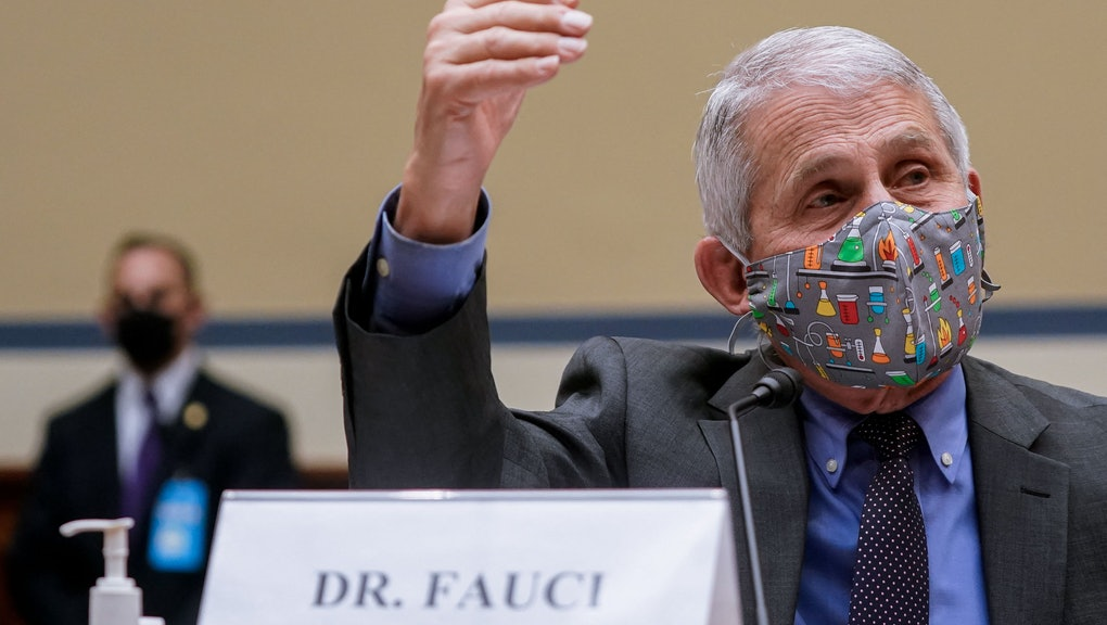 """National Institute of Allergy and Infectious Diseases Director Anthony Fauci, testifies before a House Select Subcommittee hearing on """"Reaching the Light at the End of the Tunnel: A Science-Driven Approach to Swiftly and Safely Ending the Pandemic,"""" on Capitol Hill in Washington, DC, April 15, 2021. (Photo by Amr Alfiky / POOL / AFP) (Photo by AMR ALFIKY/POOL/AFP via Getty Images)"""
