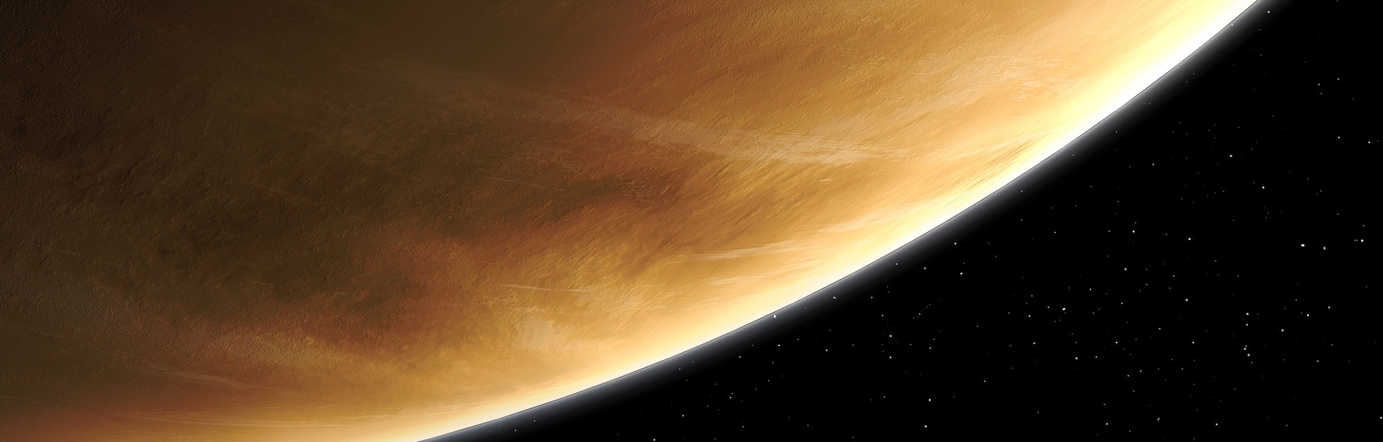 An impression of the greenhouse planet, the third smallest planet in the Solar System (after Mars an...
