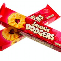 Helston, Cornwall, UK - May 17, 2013: Two unopened packets of Jammie Dodgers biscuits. These are made by Burtons Biscuit Company in the UK.
