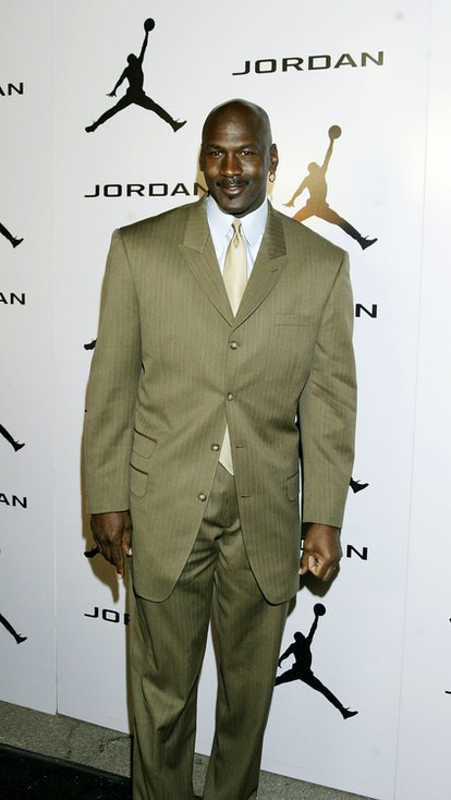 """LOS ANGELES - FEBRUARY 13:  Basketball legend Michael Jordan arrives for """"Comedy Court"""" comedy show presented by Michael Jordan on February 13, 2004 at the Wadsworth Theatre in Los Angeles, California. (Photo by Doug Benc/Getty Images)"""