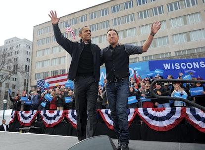 Host of celebrity podcast President Barack Obama and singer Bruce Springsteen attend rally together.