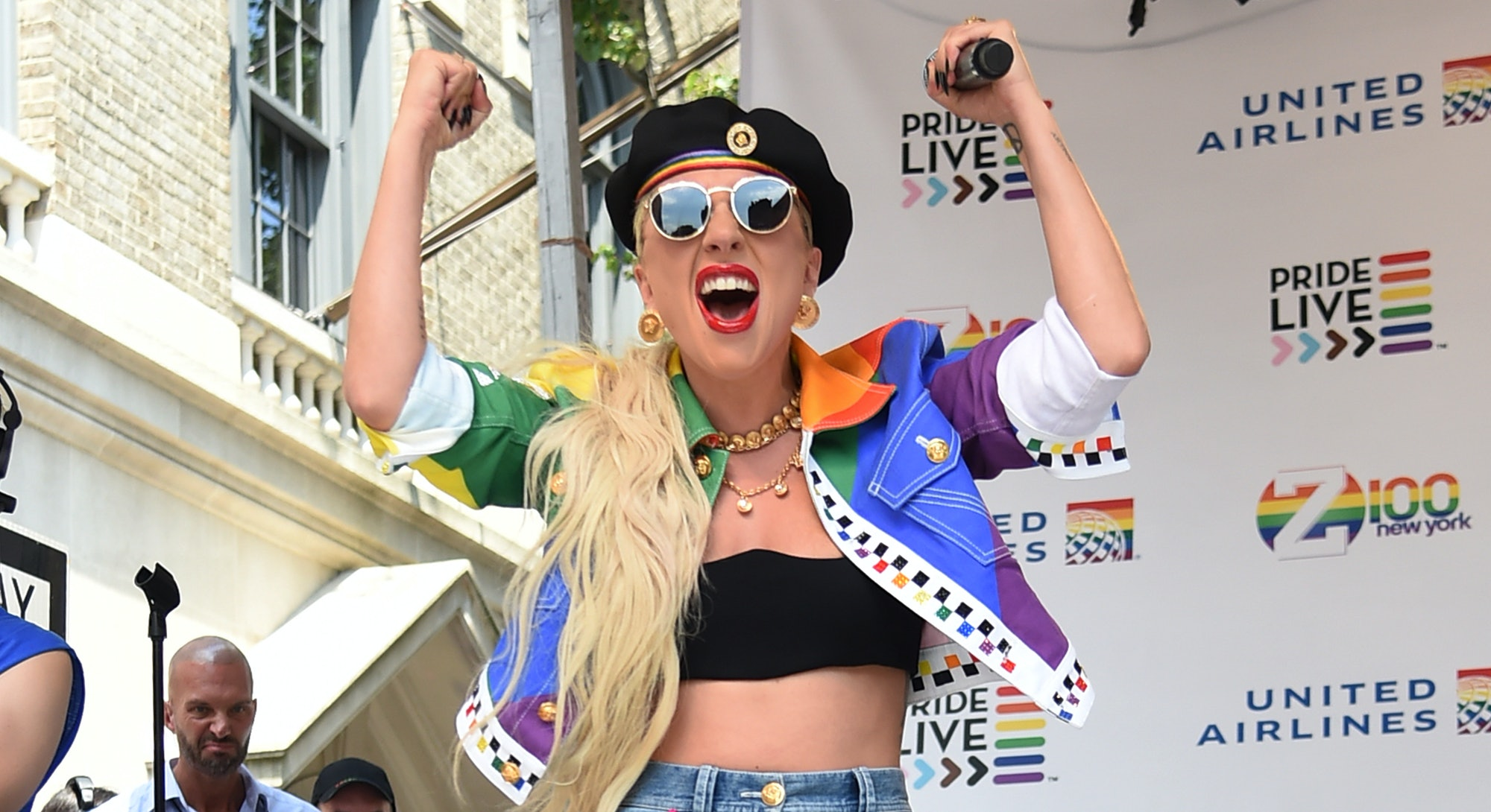 NEW YORK, NEW YORK - JUNE 28:  Lady Gaga speaks onstage during Pride Live's 2019 Stonewall Day on June 28, 2019 in New York City. (Photo by Jamie McCarthy/Getty Images for Pride Live)