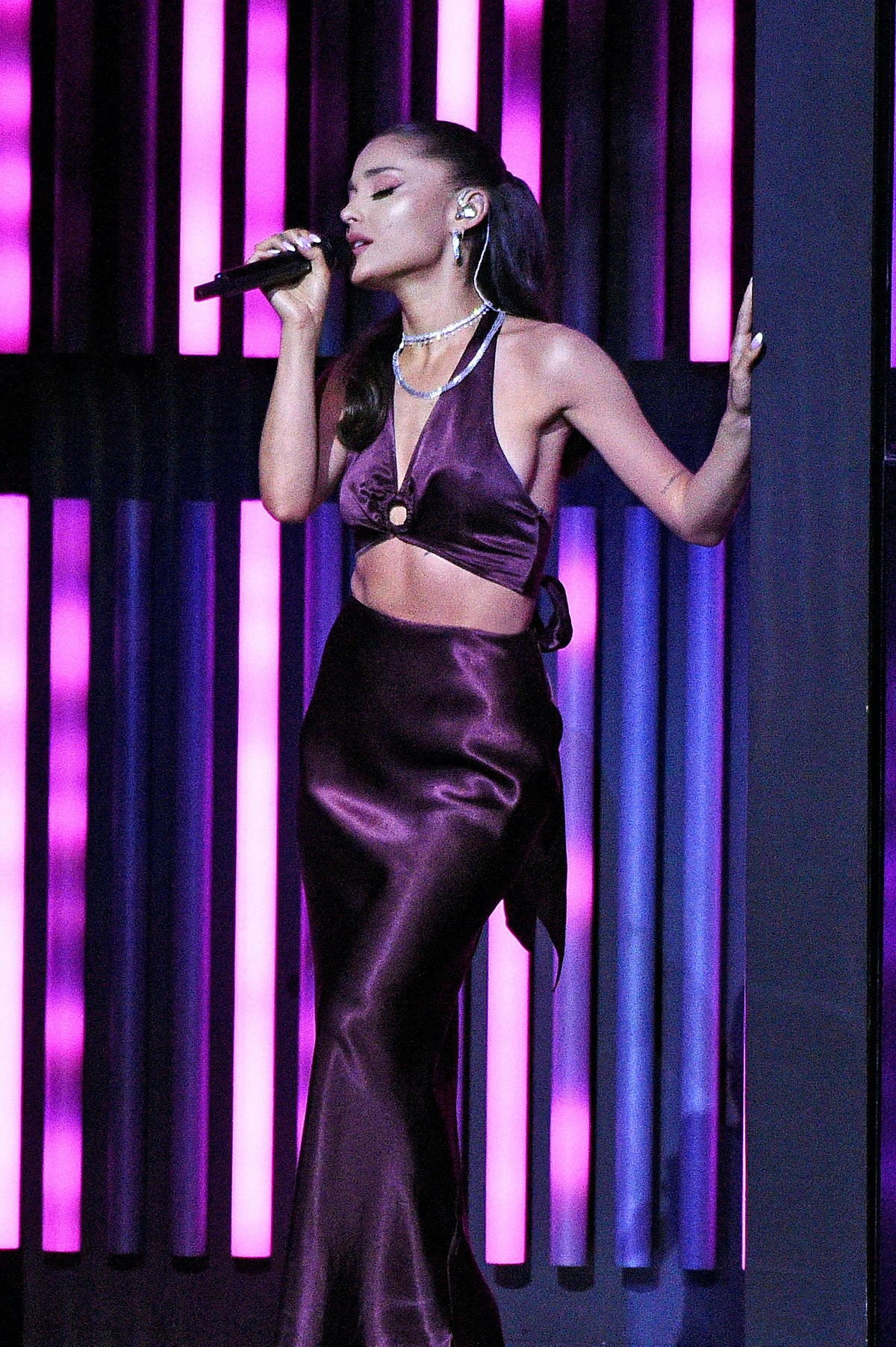 LOS ANGELES, CALIFORNIA - MAY 27: (EDITORIAL USE ONLY) (EDITORS NOTE: This image has been retouched) In this image released on May 27, Ariana Grande performs onstage at the 2021 iHeartRadio Music Awards at The Dolby Theatre in Los Angeles, California, which was broadcast live on FOX on May 27, 2021. (Photo by Kevin Mazur/Getty Images for iHeartMedia)