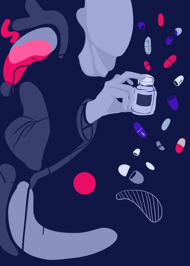 Using drugs for depression. Antiviral drugs. Surrealistic illustration.