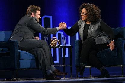 Oprah Winfrey who host celebrity podcast Super Soul speaks onstage with Bradley Cooper.