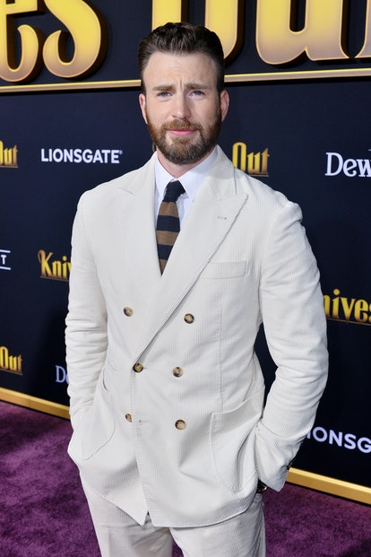 WESTWOOD, CALIFORNIA - NOVEMBER 14: Chris Evans arrives at the Premiere of Lionsgate's 'Knives Out' at Regency Village Theatre on November 14, 2019 in Westwood, California. (Photo by Jerod Harris/Getty Images)