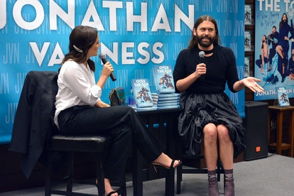 Celebrity podcast host Jonathan Van Ness and actress Sophia Bush chat during a book launch.