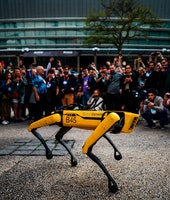"""People take pictures and videos of Boston Dynamics Robot Dog named """"Spot"""" during a presentation on t..."""