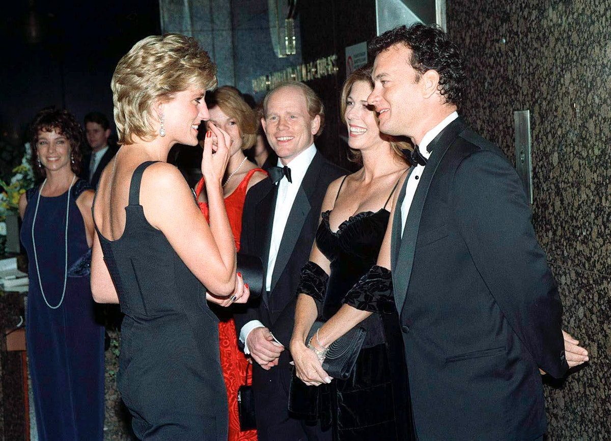 Diana, Princess Of Wales, Meeting Actor Tom Hanks With His Wife, Rita Wilson, And Director Ron Howar...