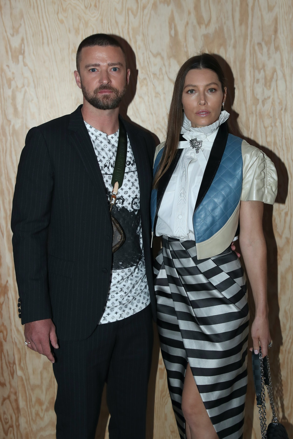 PARIS, FRANCE - OCTOBER 01: Justin Timberlake and Jessica Biel attend the Louis Vuitton Womenswear S...