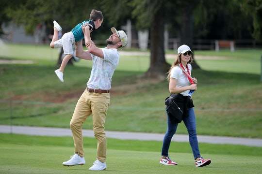 CRANS-MONTANA, SWITZERLAND - AUGUST 27: Justin Timberlake lifts up his son Silas next to his wife Je...