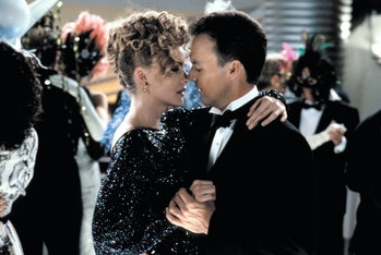 American actors Michelle Pfeiffer and Michael Keaton on the set of Batman Returns, directed by Tim B...