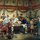 Roberto Bompiani (Italian, 1821-1908), A Roman Feast, late 19th century, oil on canvas, 127 x 163.8 ...